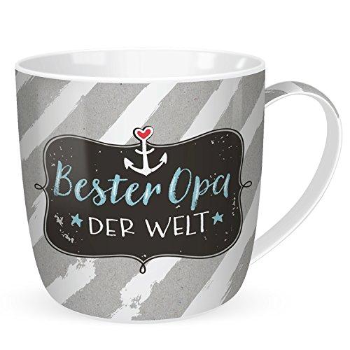 Happy Life 45094  Geschenk-Tasse mit Spruch Bester Opa der Welt, mit Ankermotiv, Porzellan, 40 cl