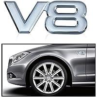 ETGtek 2pcs 3D in metallo cromato V8 Car Sticker marchio della decalcomania dell'emblema del distintivo (Emblema Del Metallo)