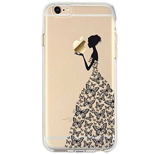 iPhone 6 Case, iPhone 6s Case, Walmark TPU Silicone Gel Soft Bumper Clear Case Cover for Iphone 6 6S (Henna Series Black Beautiful Butterfly Girl)