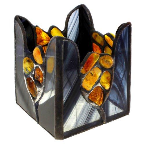 Amber Windlicht (InCollections Damen- Deko Windlicht mit Bernstein und Glas 001098B013001)