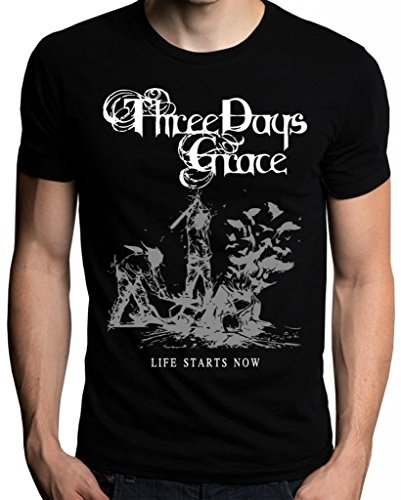 Grossbull Three Days Grace Life Starts Now T-Shirt, CBlack, Small