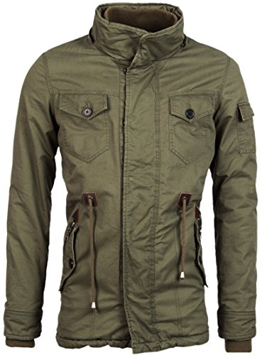Gefütterte Herren Winterjacke mit Fell Kapuze Coat der Marke Young & Rich Jacke Parka Mantel in verschiedenen Farben Grün
