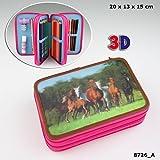 Horses Dreams 3-fach Federtasche, befüllt Federmäppchen Federetui Pink *NEU*OVP*