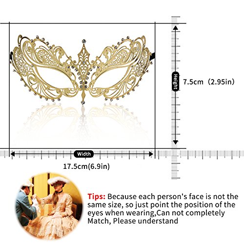 AOFU 1 Prom Party Laser Cut Metal Filigree Venetian Masquerade with Rhinestones Face Mask  Gold