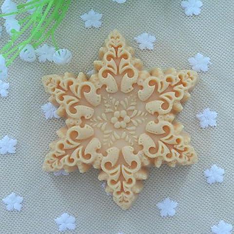 Y&XL&H forma de copos de nieve molde del jabón pastel fondant molde de silicona chocolate, herramientas de decoración para hornear