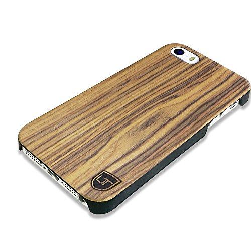 UTECTION Custodia in Legno per iPhone SE / 5S / 5 - Vero Legno - Ultra Sottile - Design Unico, Wood Cover Bumper Walnut