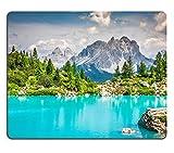 Luxlady gomma naturale Mousepads immagine ID 31595437 turchese Sorapis in lago Cortina d'Ampezzo con montagne e Forest, Dolomite-Sorapis circuito Dolomites Italia Europe
