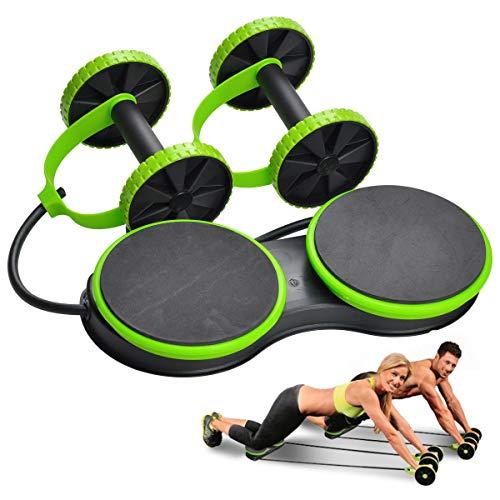 Attrezzatura professionale per esercizi sportivi, per palestra, fitness, addominali, vita, mano, gambe, pancia, con 2 cuscinetti rotanti, ideale per uomini, donne e ragazze, green