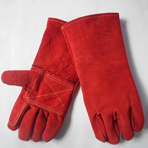 Handschuhe Verdickung Handschuhe Double Grooming Trim Tierpflege Kratzer beißen Frost Frost Arbeitshandschuhe Männer & Frauen Braun grau rot karmesinrot (Color : Red) (Color Magic-handschuhe)