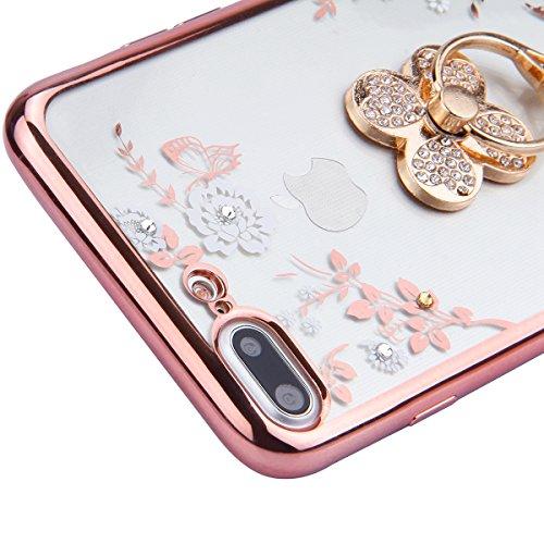 iPhone 7 Plus Coque,iPhone 7 Plus Case,iPhone 7 Plus Cover - Felfy Transparent Ultra Light Slim Gel Souple Soft Flexible TPU Silicone Cas Color Motif Protector Housse Anti Scratch Couverture Coloré Mo Fleur Blanche Trèfle
