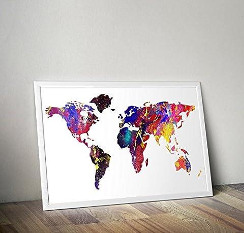 Carte de l'impression aquarelle mondiale d'une taille A4 de 8,3 x 11,7 pouces
