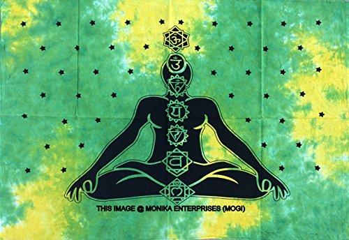 MOGi Monika-Batik grün, Batik, und die sieben Chakra Poster Plakat, indische, Hippie Dorm für die Wand, Dekorationen, Boho-Wandbild mit X42cm (Batik Gobelin Tischdecke)