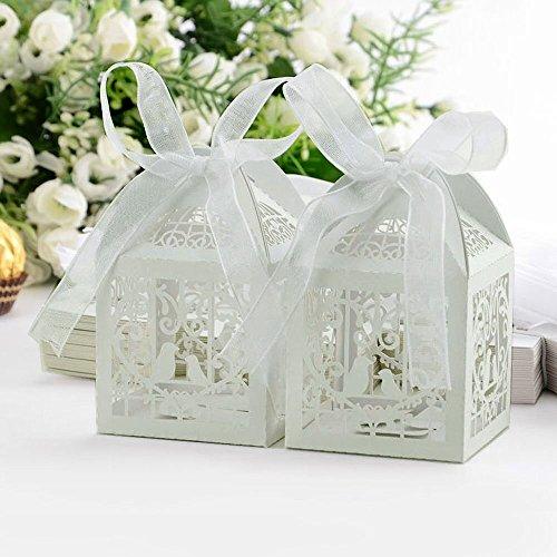 GaDa 50 Stück Hochzeitsboxen Hochzeit Taufe Gastgeschenk Geschenkbox Kartonage Schachtel Tischdeko Bonboniere Box Hochzeit Dekoration in weiß (Ivory White) (weiß) (Dekoration Für Die Taufe)