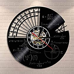 Vandelkt Matemáticas Fórmula Ciencia Aula Arte de Pared Reloj de Pared Friki Gráfica Ecuación matemática Disco de Vinilo Reloj de Pared Idea de Regalo para Profesores de matemáticas