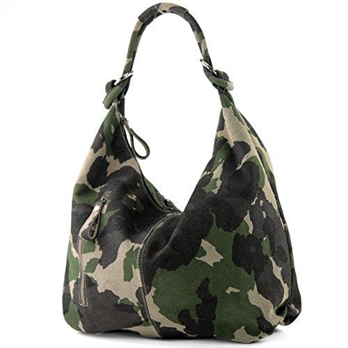 modamoda de - T158 - ital Schultertasche aus Wildleder Leder, Farbe:T158 Camouflage -