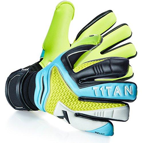 T1TAN Rebel Torwarthandschuhe ohne Fingerschutz / Tormannhandschuhe mit 4mm Monster Grip / Fußballhandschuhe mit Innennaht / Blue & Yellow / Größe 8