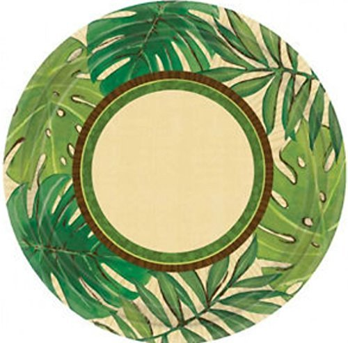 Custom & Unique {7 Inch} 8 Count Multi-Pack Set of Medium Size Round Circle Disposable Paper Plates w/ Stranded Island Safari Party Tropical Island Palms Leafs Green & Brown Colored by mySimple Products