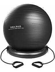 xintop Kit de pelota de Yoga, 75cm anti Burst de pelota de fitness, en PVC con soporte, correas, antiestática ideal para ejercicio, Pilate Gym, casa, oficina