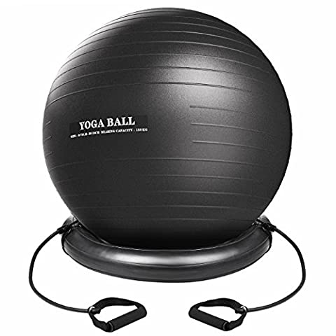 Xintop Anti Burst Exercise Fitness Ball, Yoga Core Stability Ball, Swiss Ball, Size 75cm PVC Balance Ball, with Ball Holder, Elastic Straps, Pump, Anti-Static Gym Ball for Physical Therapy, Home Yoga and
