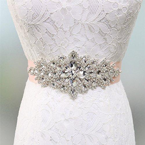 Zdada Elegante Band Hochzeit Gürtel Brautkleid Schärpe Kristall Strass Applique-8Farbe Band Optionen, Sonstige, Blush, RA004 - Bling Kleider Lange Prom