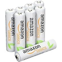 AmazonBasics - Juego de 8 pilas recargables AAA Ni-MH (precargadas, 500 ciclos, 800mAh, mínimo 750mAh) - La cubierta exterior puede variar