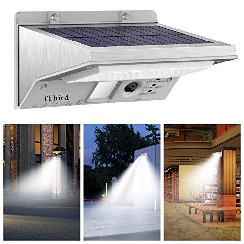 iThird Solarleuchte mit bewegungsmelder für Veranda, Treppen, Garten, Terrasse, Garagen, Eingang, 21 superhelle LEDs, 3 Beleuchtungsmodi, Metallgehäuse(weißes Licht)