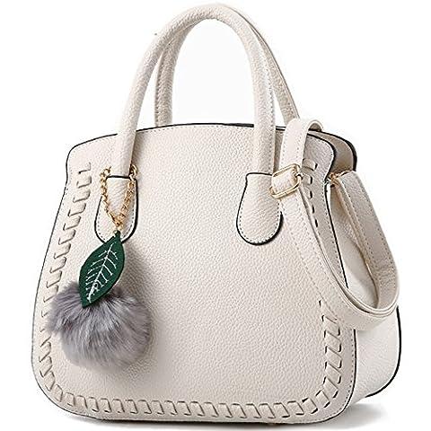 Sac a main Femme Simple Mode Sacs à main en PU Cuir Sac d'épaule Pour Filles Blanc