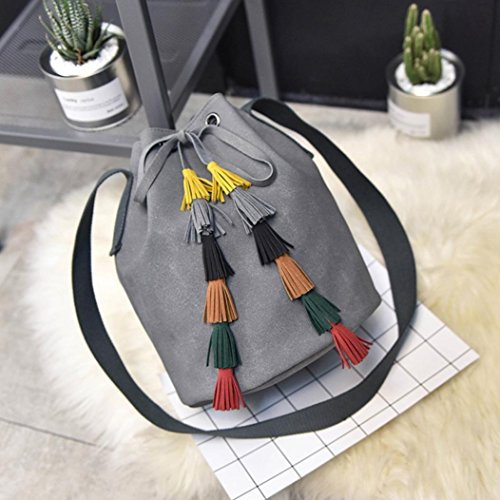 Koly_Lady Fashion Handbag Tassel Shoulder Bag Borsa borsa Grigio