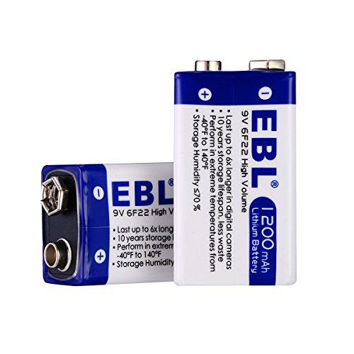 EBL 9V Block Batterien Lithium Einwegbatterie mit Aufbewahrungsbox 2 Stück, Ideal für Rauchmelder, Spielzeug