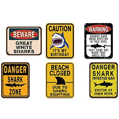 WERNNSAI Hai Zone Party Dekorationen - 6 PCS Lustige Wand Dekor Zeichen für Jungen Kinder Geburtstagsparty Ocean Shark Theme Party Zubehör