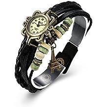 iWatch Mujer Reloj De Pulsera Retro Torre Eiffel Torre piel pulsera cadena pulsera analógico de cuarzo reloj Watches Negro