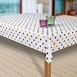 Wachstuch-Tischdecke Abwaschbar Garten-Tischdecke Wachstischdecke PVC Plastik-Tischdecken Outdoor Eckig Meterware Wetterfest Wasserabweisend Abwischbar G03, Muster:Punkte weiss-bunt, Größe:100x140 cm