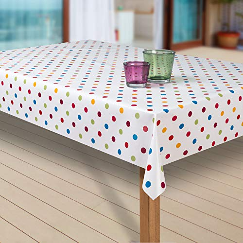 Wachstuch-Tischdecke Abwaschbar Garten-Tischdecke Wachstischdecke PVC Plastik-Tischdecken Outdoor Eckig Meterware Wetterfest Wasserabweisend Abwischbar G03, Muster:Punkte weiss-bunt, Größe:130x200 cm