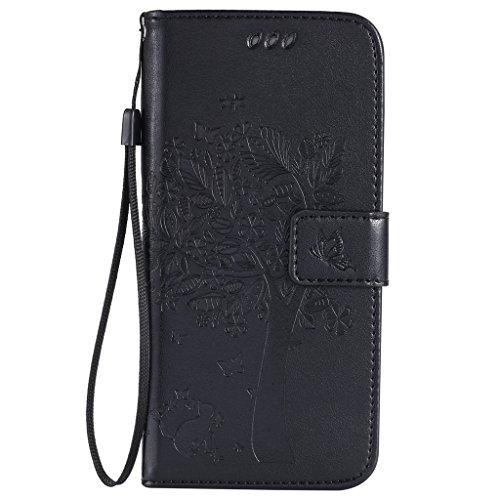 Coque Galaxy S7 Edge,Etui Samsung S7 Edge [Avec Protecteur d'écran en Verre Trempé Gratuit],Fatcatparadise® (Série de chat et d'arbre) Rétro emboss Pr...