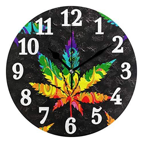 Ahomy Runde Wanduhr abstrakte Cannabis Marihuana Blatt Bunte Home Art Decor Non-Ticking Ziffern Uhr für Home Office 1 x AA Batterie (Nicht enthalten) - Möbel Uhr