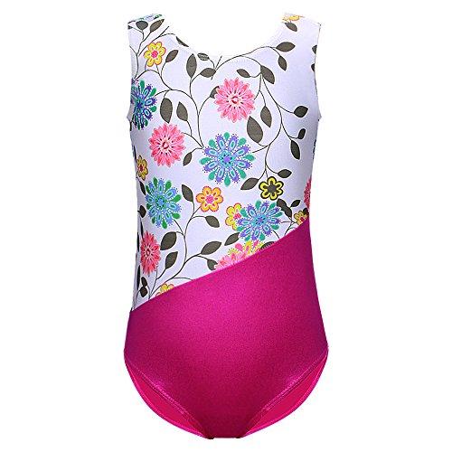 DAXIANG Gymnastik Trikot für Mädchen Sleeveless Flower Printed Athletic Dance Kostüm für 2-10J (White, 130(5-6 (Dance Kostüme Kinder Uk)
