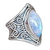 Toamen 1 PC Boho Jewelry Anillo Personalizado Silverstone Piedra Preciosa Marquise Moonstone (Tamaño:8, A)