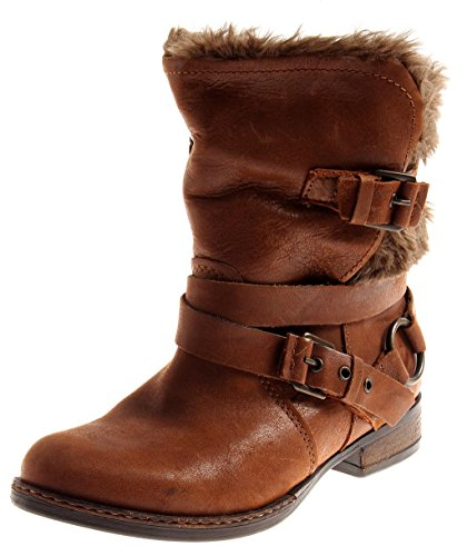 BULLBOXER warme Lederstiefelette Leder Schuhe Damen gefüttert Cognac 2292 EU 38