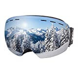 Dracarys Occhiali da Sci - Anti-Appannamento Protezione UV Senza Cornice Lenti Intercambiabili Over The Glasses Compatibile con di Casco Occhiali da Sci Uomo Donna (VLT 11.6%)