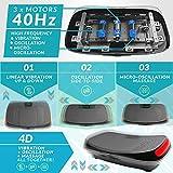 4D Vibrationsplatte – Leistungsstark mit 3 leisen Motoren | Leicht zu Bedienen | Magnetfeldtherapie Massage | Ultra Komfort – Curved Design | 4.0 Bluetooth Lautsprecher | Vibration Oszillation - 2