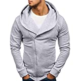 Yvelands Herren Sweatshirt Langarm Herbst Winter Casual Sweatshirt Hoodies Coat Trainingsanzüge(EU-46/M,Grau)
