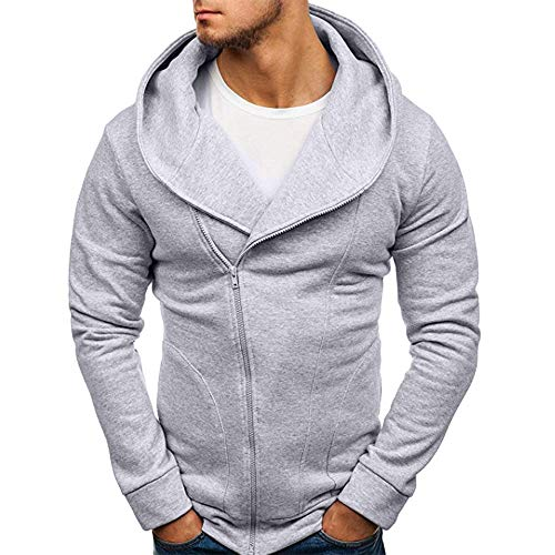 (Yvelands Herren Sweatshirt Langarm Herbst Winter Casual Sweatshirt Hoodies Coat Trainingsanzüge(EU-46/M,Grau))