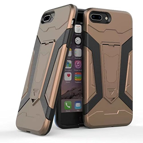 UKDANDANWEI Apple iPhone 7 Plus Hülle, 【Armor Man】Hybrid Armour Tough Stil Dual LayerDefender PC Bumper Handyhülle Cases mit Ständer [stoßfest Fall] für Apple iPhone 7 Plus - Schwarz Kaffee