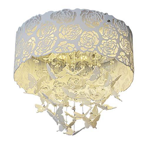 Spots de plafond Plafonnier Chaleur Romantique Plafond Cristal Papillon Plafonnier Simple Moderne LED Salon Salle À Manger Lampe De Chambre (Color : Blanc, Size : 60 * 60 * 49cm)