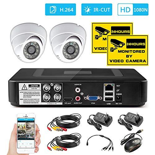 Vier Ch Home Security CCTV Kamera System 1200tvl Indoor Dvr Kit Überwachungskamera System Nachtsicht App Monitor Kamera Porzellan schwarz - Dvr-system Kit