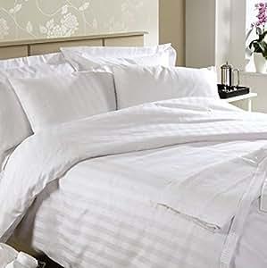 Linenwalas 300 TC Double Bed Stripes Cotton Quilt Cover -White Stripes - Duvet Cover