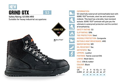 Proteq Grind Gtx Steifel S3 Sra Hro, Chaussures de sécurité mixte adulte Schwarz (Schwarz)