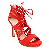 Obsel: by Scarpe&Scarpe - Sandalen mit Absatz, Käfigstruktur und vorne geschnürt, mit Absätzen 10 cm - 38,0, Rot