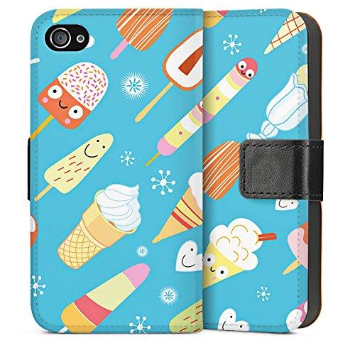 Apple iPhone 4 Housse Étui Silicone Coque Protection Crème glacée Sucreries Glace Sideflip Sac