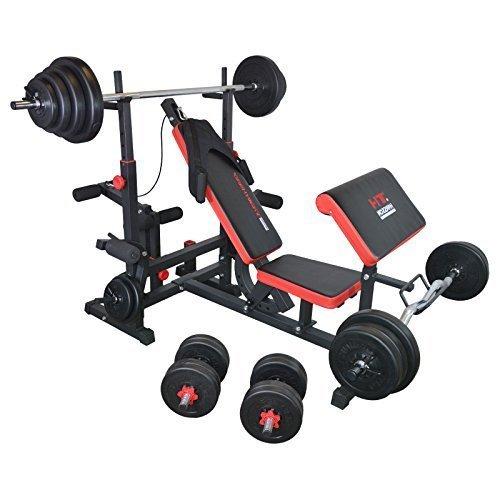 TrainHard multiprise centre banc de musculation (noir/rouge), avec hauteur curl- et haltère courte et 110 kg